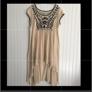 Free People high/low embroidered dress SIZE LARGE
